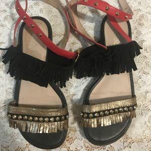 Shoes - Studded fringe sandal